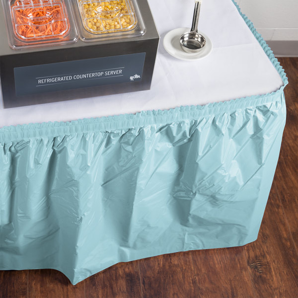 """Creative Converting 10037 14' x 29"""" Pastel Blue Disposable Plastic Table Skirt"""