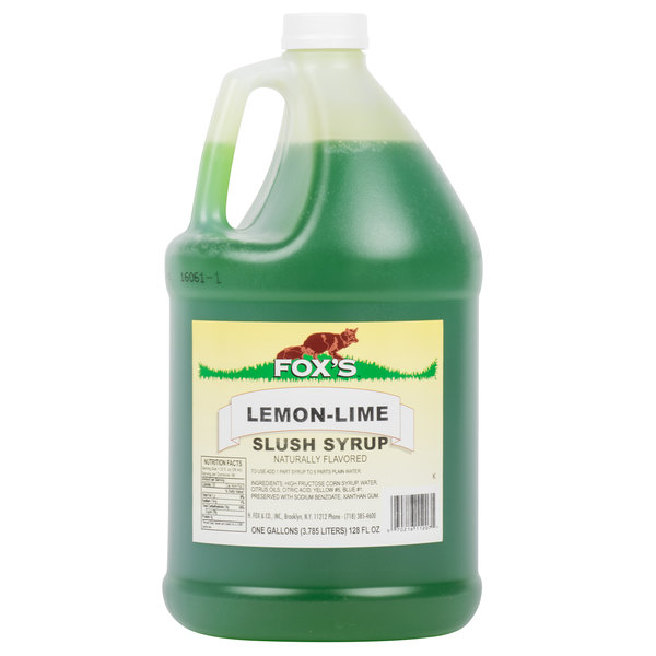 Fox's 1 Gallon Lemon-Lime Slush Syrup  - 4/Case