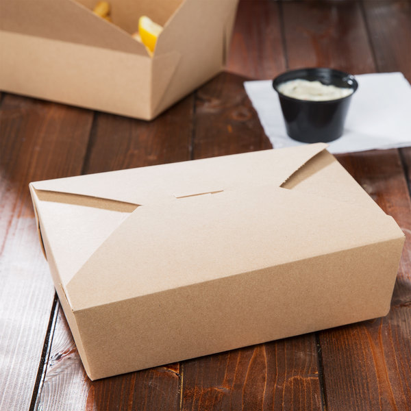 """Southern Champion 0763 8"""" x 6"""" x 3"""" ChampPak Retro Kraft Microwavable Paper #3 Take-Out Container - 200/Case"""