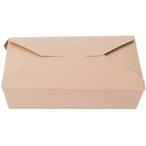 Southern Champion 762 7 3/4 inch x 5 1/2 inch x 1 7/8 inch ChampPak Retro Kraft Paper #2 Take-Out Container - 200/Case