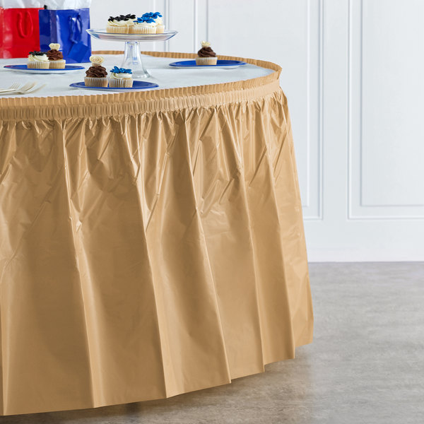 """Creative Converting 10024 14' x 29"""" Glittering Gold Disposable Plastic Table Skirt Main Image 4"""