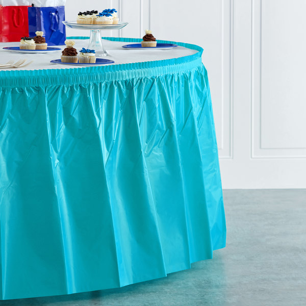 "Creative Converting 10539 14' x 29"" Bermuda Blue Disposable Plastic Table Skirt Main Image 4"
