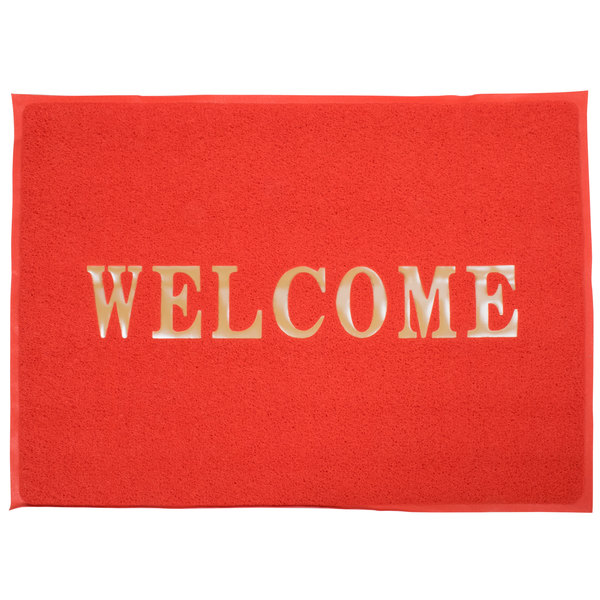"""5' x 4' Red """"Welcome"""" Entrance Floor Mat"""