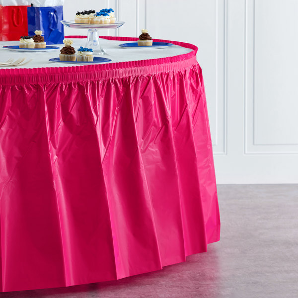 "Creative Converting 10030 14' x 29"" Hot Magenta Pink Disposable Plastic Table Skirt Main Image 4"
