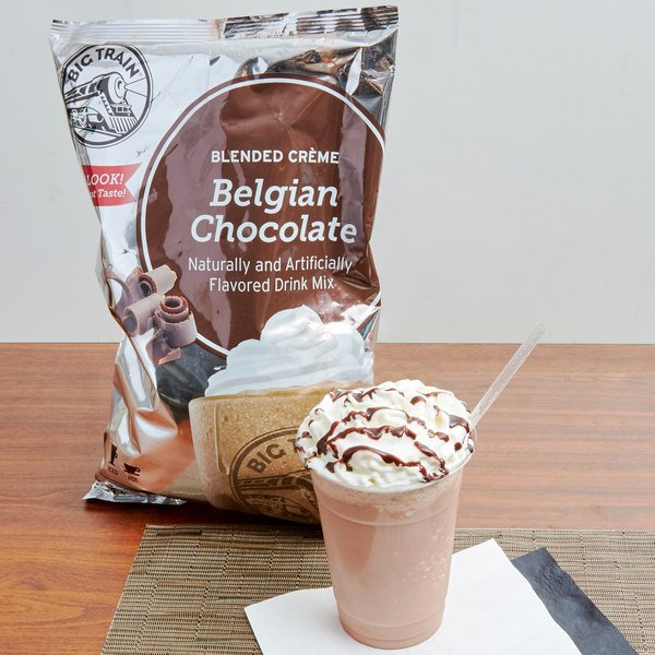 Big Train Belgian Chocolate Blended Creme Frappe Mix - 3.5 lb.