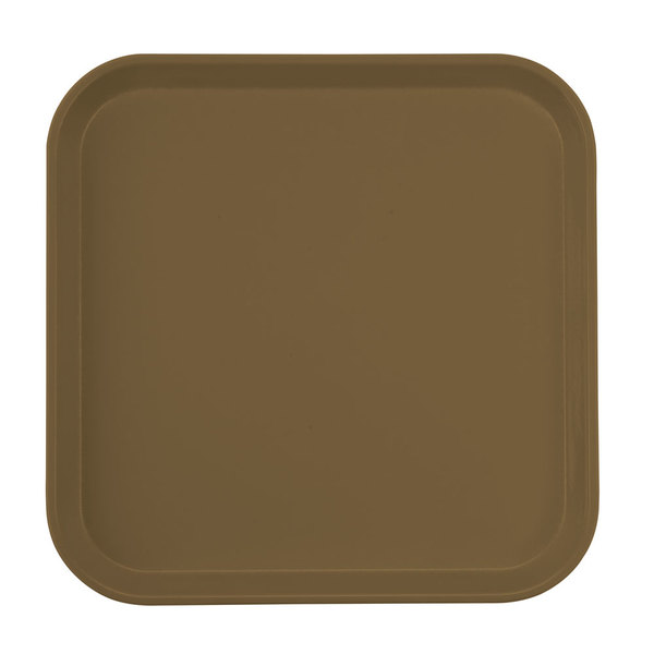 "Cambro 1313513 13"" x 13"" (33 x 33 cm) Square Metric Bay Leaf Brown Customizable Fiberglass Camtray - 12/Case"