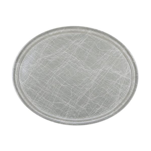 "Cambro 2500215 19 1/4"" x 24"" Oval Abstract Gray Customizable Fiberglass Camtray - 6/Case"