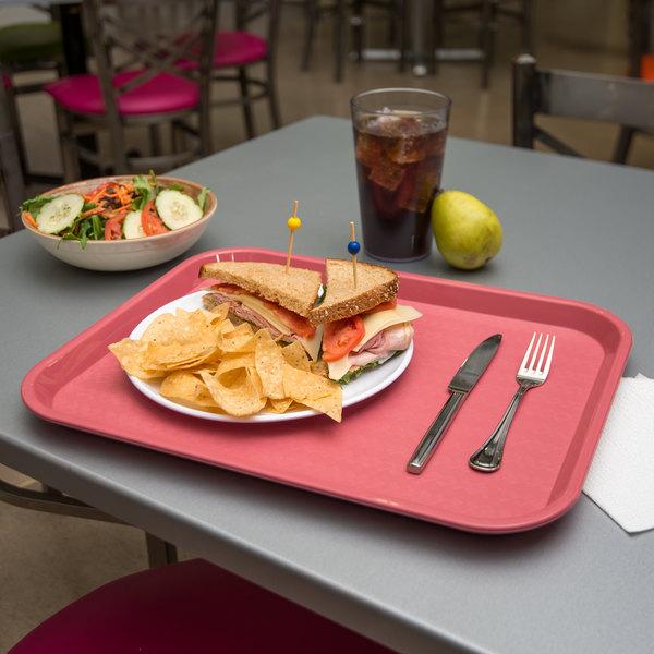 "Carlisle CT141856 Customizable Cafe 14"" x 18"" Mauve Standard Plastic Fast Food Tray - 12/Case"