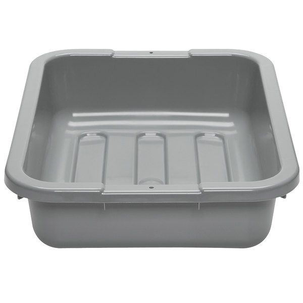 "Cambro 1520CBP180 Poly Cambox 20"" x 15"" x 5"" Light Gray Polyethylene Bus Box with Flat Bottom"