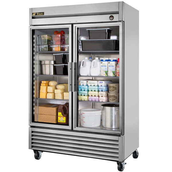 True T-49G-LD 55 inch Glass Door Reach In Refrigerator with LED Lighting
