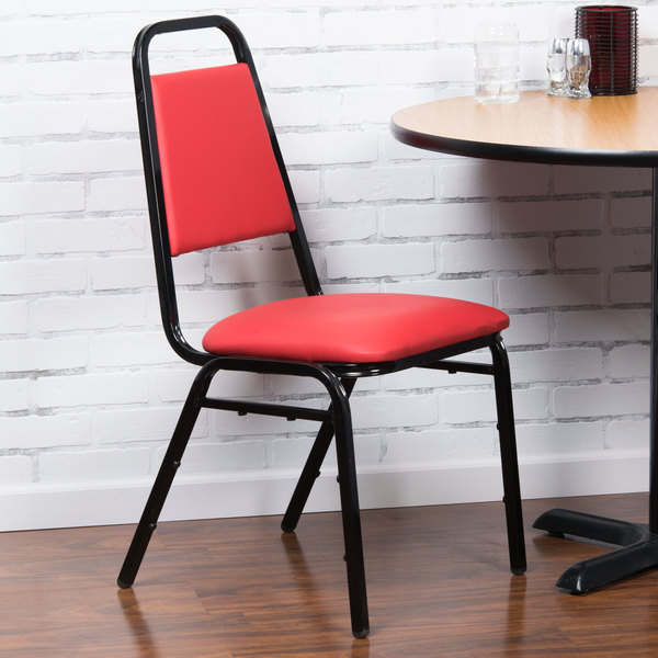 """Lancaster Table & Seating Red Stackable Banquet Chair with 1"""" Padded Seat"""
