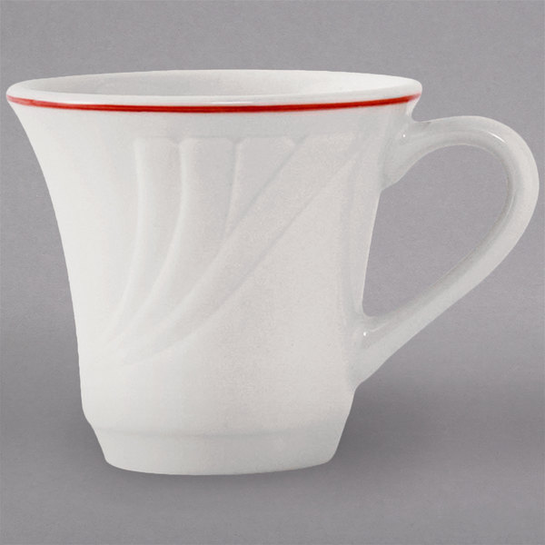 Tuxton YBF-070 Monterey 7 oz. China Tall Cup with Berry Band - 36/Case