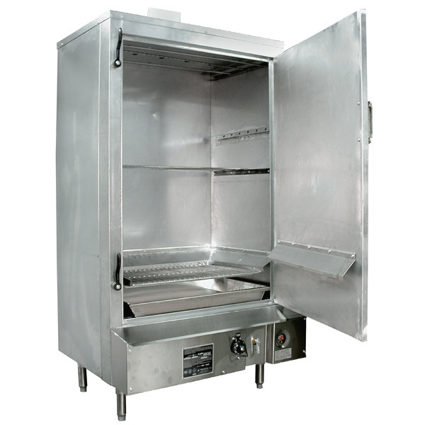 """Town SM-36-R-SS Liquid Propane Indoor 36"""" Stainless Steel Smokehouse with Right Door Hinges - 75,000 BTU"""