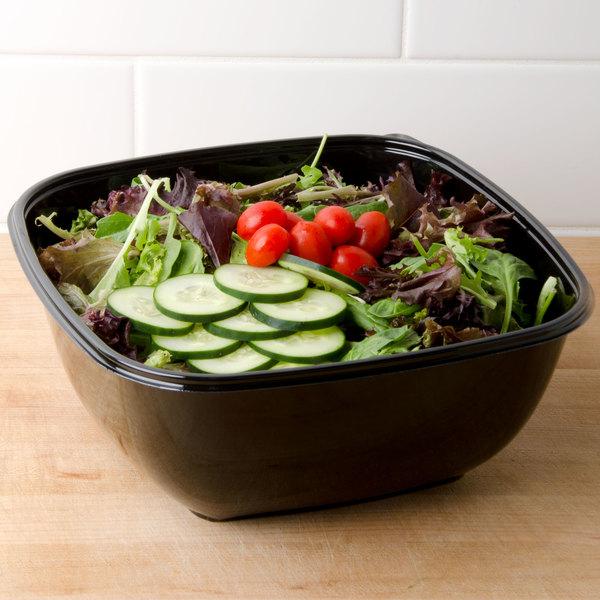 Sabert 94160B50 Bowl2 160 oz. Black Square Catering Bowl - 50/Case