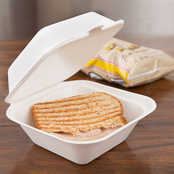 """Bare by Solo HC6SC-2050 Eco-Forward 6"""" x 6"""" x 3"""" Sugarcane / Bagasse Take-Out Container - 400/Case Main Image 4"""