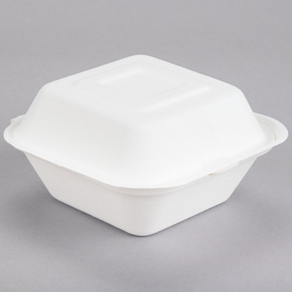 Dart Solo HC6SC-2050 Bare 6 inch Square Compostable Sugarcane Takeout Container - 400/Case