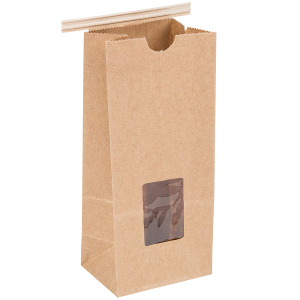 1/2 lb. Brown Kraft Customizable Tin Tie Cookie / Coffee / Donut Bag with Window - 1000/Case Main Image 1