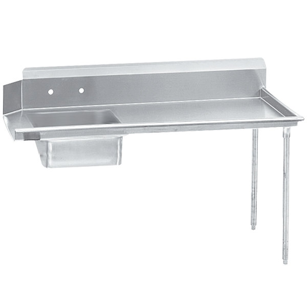 Right Table Advance Tabco DTS-S60-96 Super Saver 8' Stainless Steel Soil Straight Dishtable