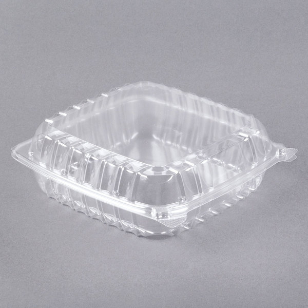 Dart C95PST1 ClearSeal 9 inch x 9 1/2 inch x 3 inch Hinged Lid Plastic Container - 200/Case