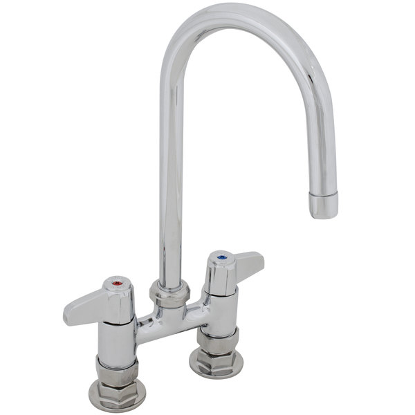 """Equip by T&S 5F-4DLX05 5 1/2"""" Deck Mounted Swivel Gooseneck Faucet with 4"""" Centers"""