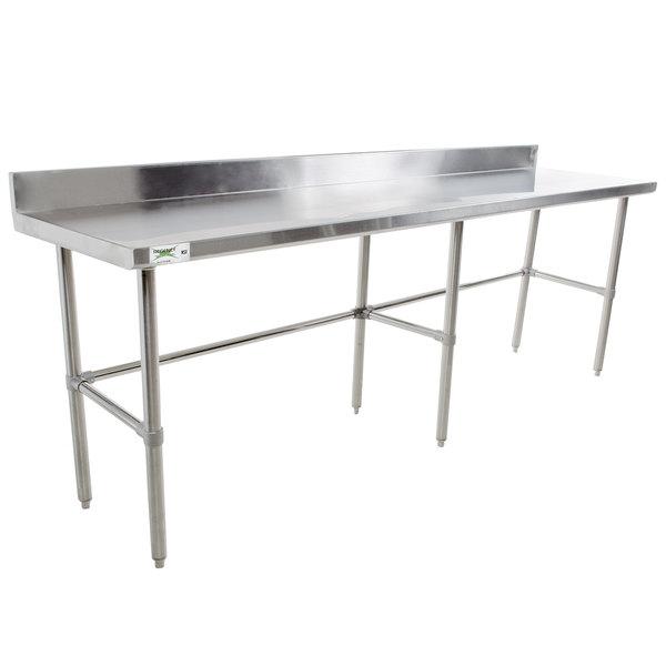 "Regency 24"" x 96"" 16-Gauge 304 Stainless Steel Commercial Open Base Work Table with 4"" Backsplash"