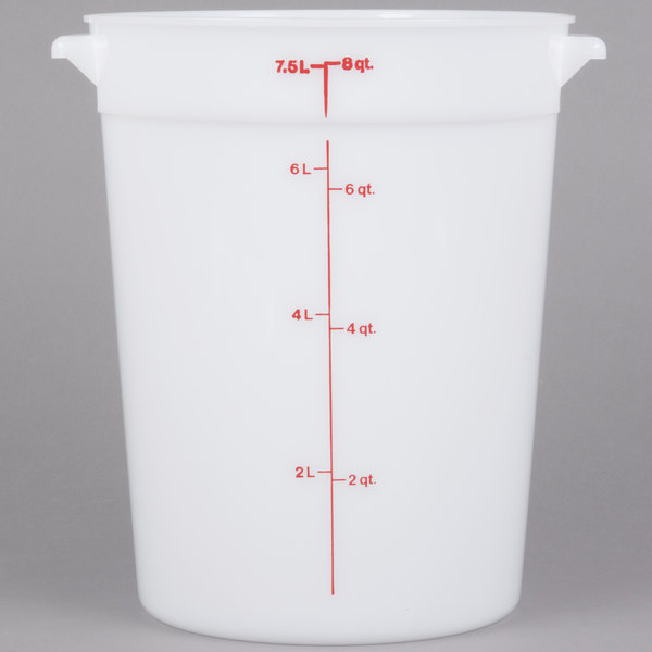 Cambro RFS8148 8 Qt Round White Food Storage Container
