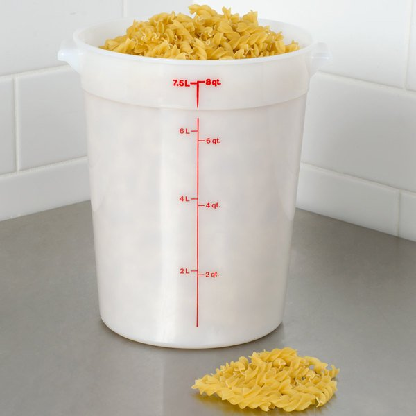 Cambro RFS8148 8 Qt. Round White Food Storage Container