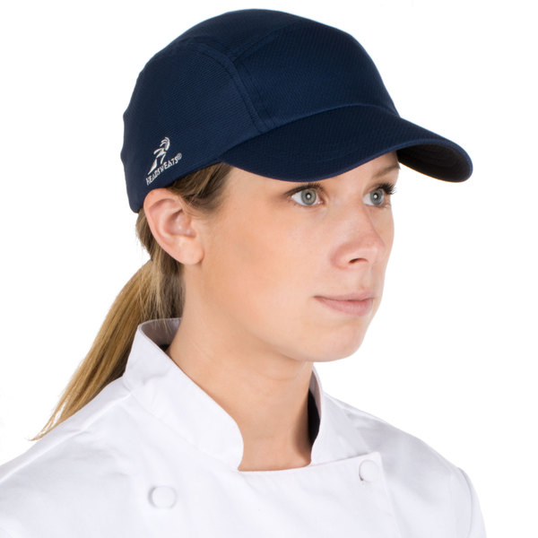 Headsweats Navy Blue Customizable 5-Panel Chef Cap with Eventure Fabric and Terry Sweatband