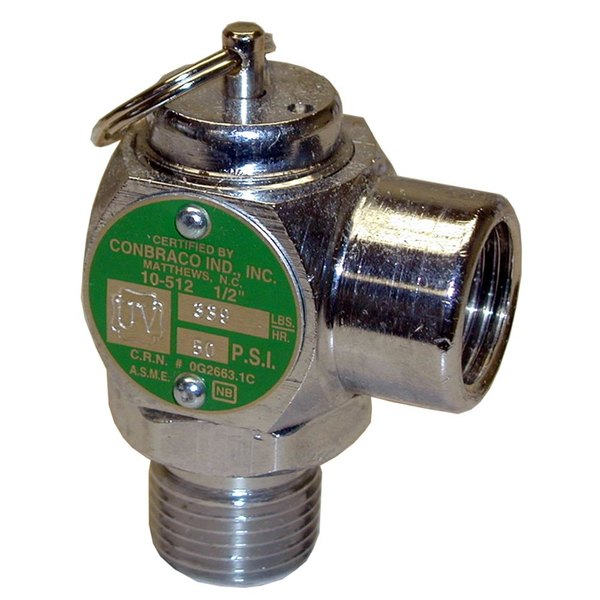 "Groen 097005 Equivalent 50 PSI Chrome Steam Safety Relief Valve - 1/2"" NPT, 339 lb./Hour Main Image 1"