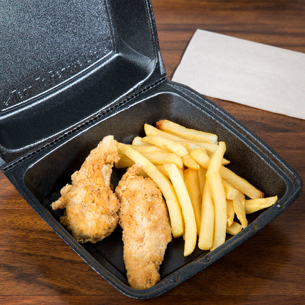"""Dart 85HTB1R 8"""" x 8"""" x 3"""" Black Foam Square Take Out Container with Perforated Hinged Lid - 200/Case"""
