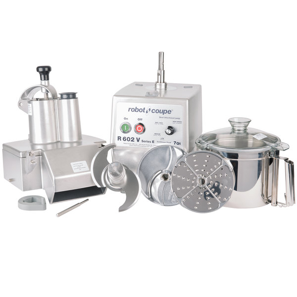 Robot Coupe R602V Combination Continuous Feed Food Processor with 7 Qt. Stainless Steel Bowl - 3 hp