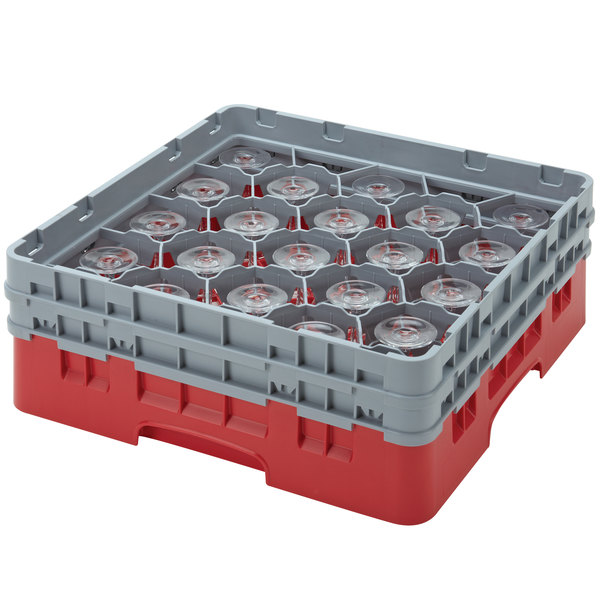 "Cambro 20S958163 Camrack Customizable 10 1/8"" Red 20 Compartment Glass Rack Main Image 1"