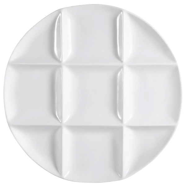 "CAC CMP-R12 12"" Bright White Porcelain Round 9 Compartment Tasting Tray - 12/Case Main Image 1"
