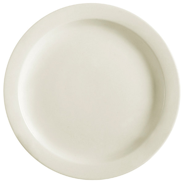 CAC NRC-20 11 1/8 inch Ivory (American White) Narrow Rim China Plate - 12/Case