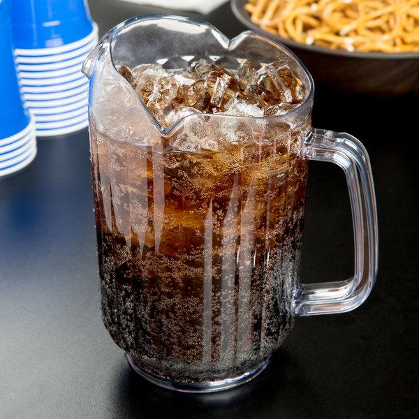 Choice 60 oz. Clear SAN Plastic Beverage Pitcher with 3 Spouts Main Image 2