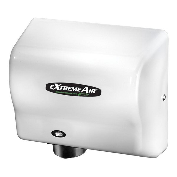 American Dryer GXT9 ExtremeAir Automatic Hand Dryer with White ABS Cover - 100/240V, 1500W