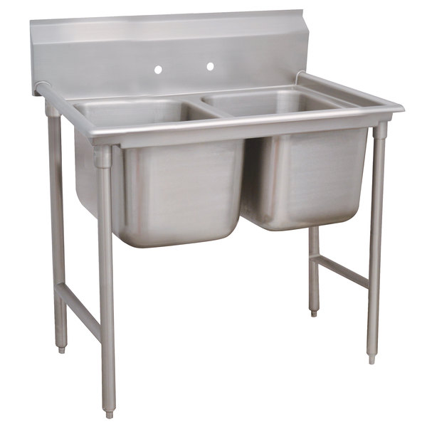 """Advance Tabco 93-42-48 Regaline Two Compartment Stainless Steel Sink - 60"""""""