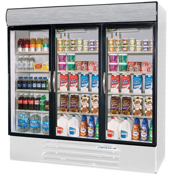 "Beverage-Air MMR72HC-1-W MarketMax 75"" White Refrigerated Glass Door Merchandiser with LED Lighting"