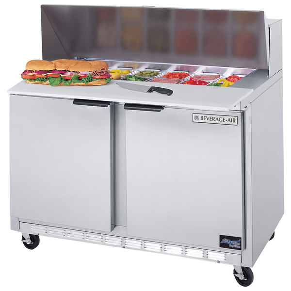 """Beverage-Air SPE48HC-12C Elite Series 48"""" 2 Door Cutting Top Refrigerated Sandwich Prep Table with 17"""" Deep Cutting Board"""