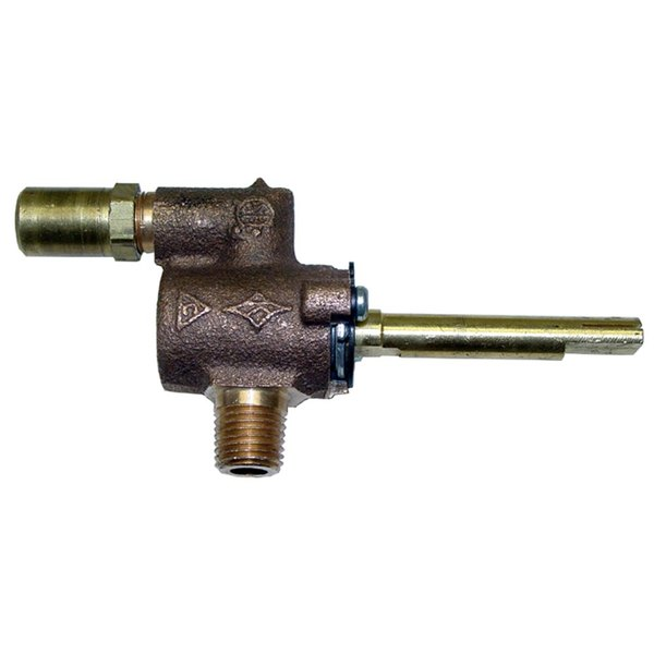 """Vulcan 402601-A48 Equivalent Burner Gas Valve - 1/4"""" Gas In x 1/2""""-27 Gas Out with Adjustable Hood Orifice Main Image 1"""
