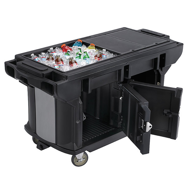 Cambro VBRUT6110 Black 6u0027 Versa Ultra Work Table With Storage And Standard  Casters