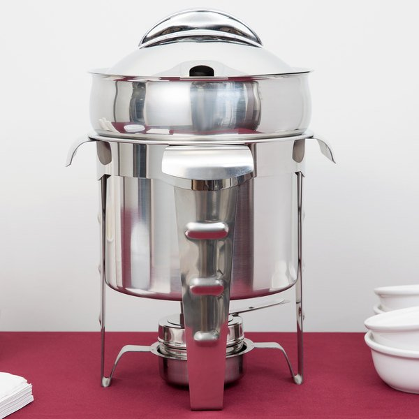 Vollrath 49524 7.4 Qt. Maximillian Steel Soup Marmite with Stainless Steel Accents Main Image 3