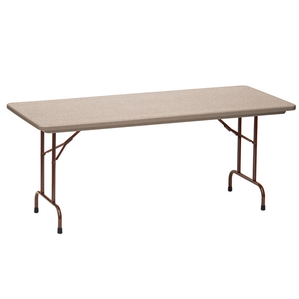"Correll Folding Table, 30"" x 72"" Tamper-Resistant Plastic, Mocha Granite - RX3072"