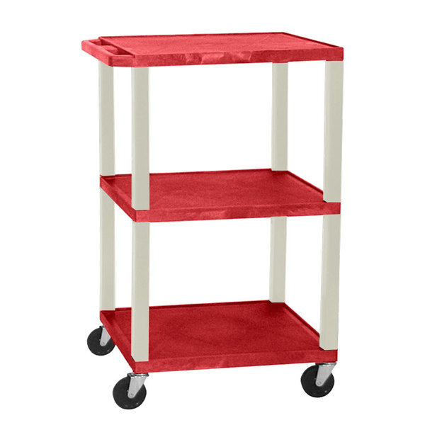 """Luxor WT1642RE Red Tuffy Open Shelf A/V Cart 18"""" x 24"""" with 3 Shelves - Adjustable Height"""