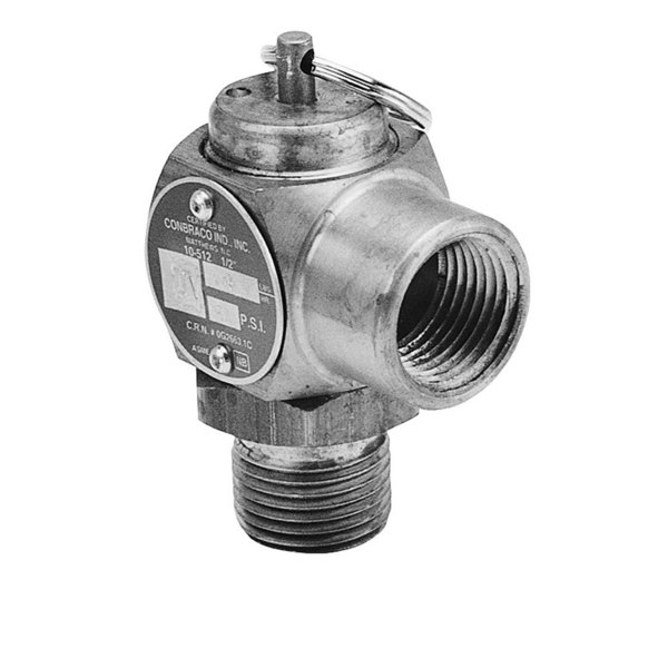 "Conbraco 10-512-B15 Equivalent 15 PSI Steam Safety Relief Valve - 1/2"" NPT, 151 lb./Hour Main Image 1"
