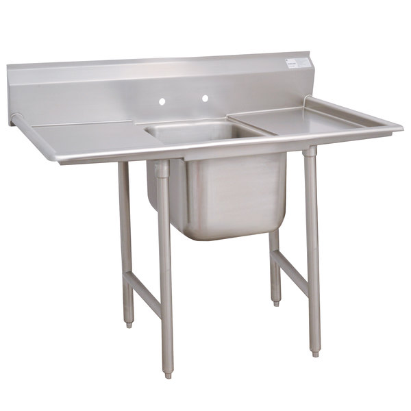 """Advance Tabco 9-1-24-36RL Super Saver One Compartment Pot Sink with Two Drainboards - 90"""" Main Image 1"""