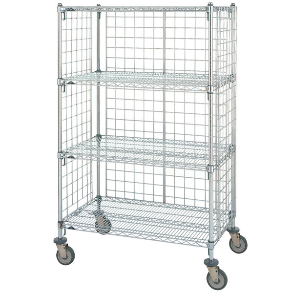 "Metro Super Erecta AST55DC Chrome Wire Slanted Shelf Cart 24"" x 48"" x 59"""