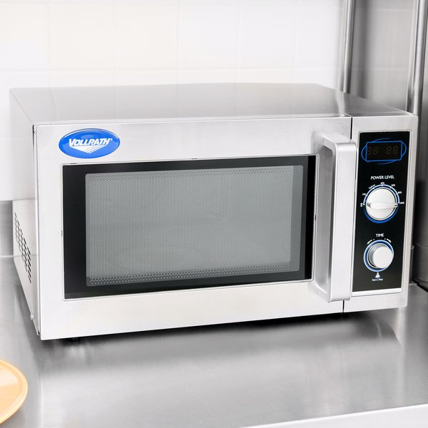 Vollrath 40830 Stainless Steel Commercial Microwave Oven with Manual Controls - 120V, 1000W