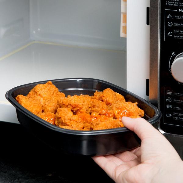Genpak 55026 31 oz. Black Dual Ovenable 1-Compartment Food Pan - 250/Case