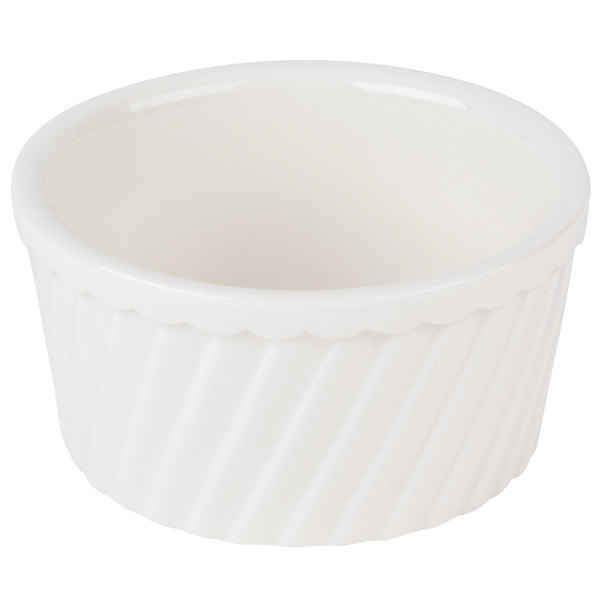 CAC RKF-8-S 8 oz. Bone White Fluted Souffle Bowl - 36/Case